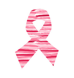 Breast cancer awareness hand drawn pink ribbon art vector