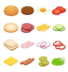Burger isometric Burger ingredients on white vector