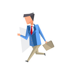 businessman walking with briefcase cartoon vector image