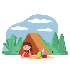 camping and hiking in forest man in tent vector image