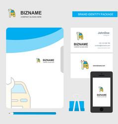 car garage business logo file cover visiting card vector image