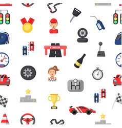 car racing seamless pattern flat vector image