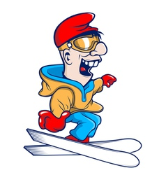 Cartoon character ski jumping vector image
