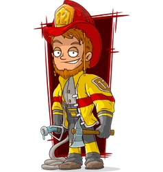 Cartoon fireman chief in cool uniform vector