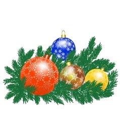 Christmas baubles and tree vector image vector image