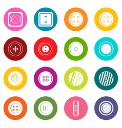 clothes button icons many colors set vector image