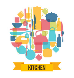 Cooking utensils background kitchen and vector