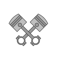 Crossed engine pistons icon vector