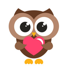 Cute brown owl with heart vector