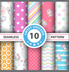 cute cartoon unicorn - seamless pattern vector image