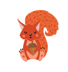 cute hand drawn squirrel isolated on white vector image