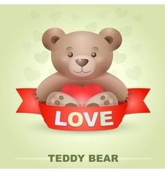 Cute Teddy bear with heart vector image vector image