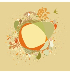 Decorative card with autumn tree and birds EPS 8 vector image