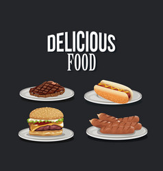 Delicious food fast food collection menu vector