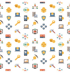 Digital line icons set blockchain pack vector