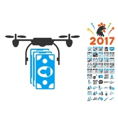 Drone Banknotes Payment Icon With 2017 Year Bonus vector image