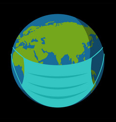 Earth with medical mask vector