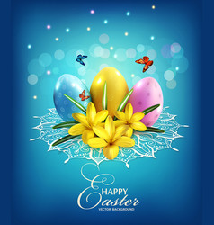 Easter background with eggs and crocus vector