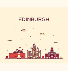 edinburgh skyline scotland trendy a linear vector image