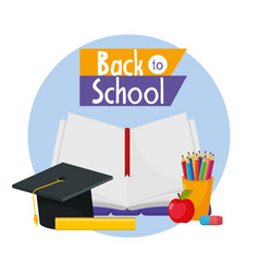 Education notebook with graduate cap and apple vector