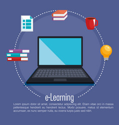 Electronic education with laptop vector