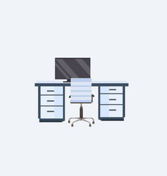 empty no people modern workplace desk with vector image