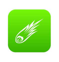 falling meteor with long tail icon digital green vector image