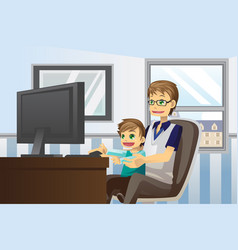 Father and son using computer vector
