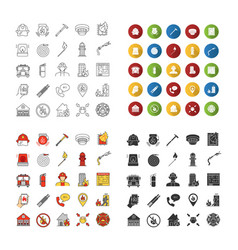 Firefighting icons sets vector