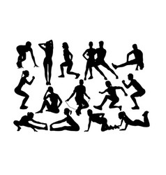 fitness and gym silhouettes vector image