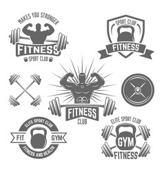 fitness sport club emblems isolated vector image