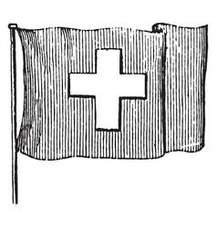 Flag of switzerland 1881 vintage vector
