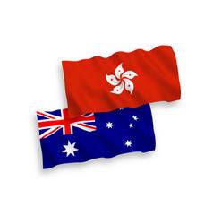 Flags australia and hong kong on a white vector
