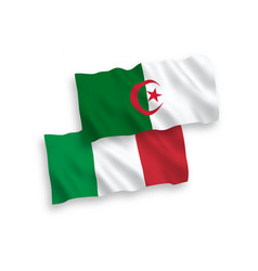 Flags italy and algeria on a white background vector