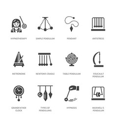 Flat glyph icons of pendulums types newton vector
