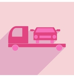Flat with shadow icon and mobile application tow vector