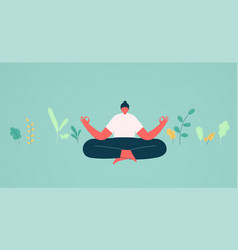 girl in lotus position meditation vector image