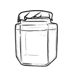 Glass jar front view hexagonal jar for preserves vector