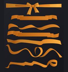golden tapes ribbons set on black vector image