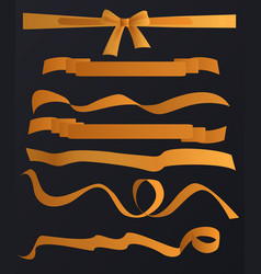 golden tapes ribbons set on the black vector image
