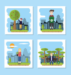 green cities collection vector image
