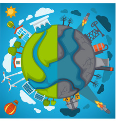 Green eco planet and environment pollution vector