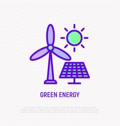 green energy solar panels and wind turbine thin vector image