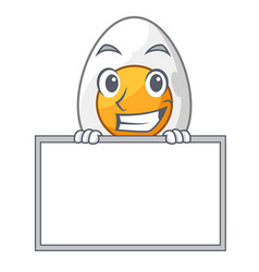 Grinning with board cartoon boiled egg sliced for vector