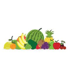 group of fresh fruit isolated on white background vector image
