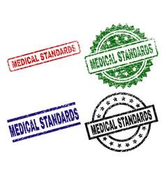 grunge textured medical standards seal stamps vector image