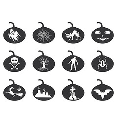 halloween lantern icons set vector image