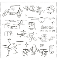 Hand drawn element drone and controller connecting vector image