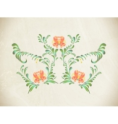 Hand drawn orange vintage floral ornament vector