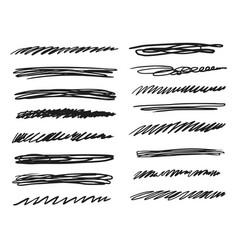 hand drawn underline stroke sketch doodle icon set vector image